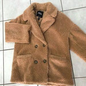 Women's  Zara Teddy jacket, colour tan, size M